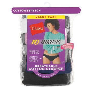Hanes Women's Breathable Cotton Stretch 10-Pack Bikini