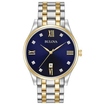Bulova Men's Diamond Accent Two Tone Bracelet Watch