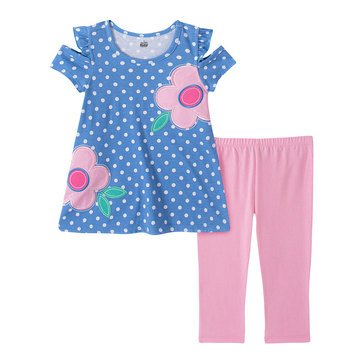 KHQ Little Girl 2 Piece Polka Dot Flower Tunic Capri Set