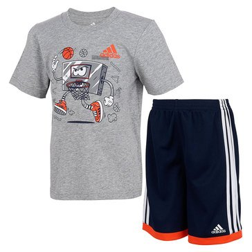 Adidas Toddler Boys' Graphic Cotton Tee & Mesh Shorts Set