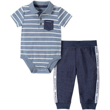 Calvin Klein Baby Boys' Striped Bodysuit & French Terry Jogger Set