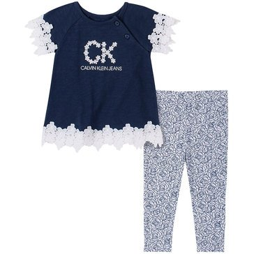 Calvin Klein Baby Girls' Lace Tunic & Print Leggings Set