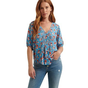 Lucky Brand Women's Ditsy Printed Pintuck Top