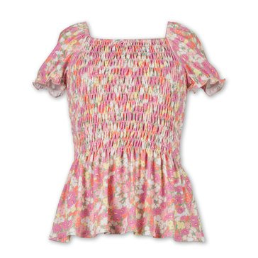 Speechless Big Girl Bright Floral Print Smoked Peplum Top
