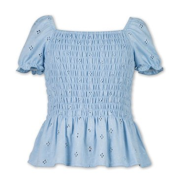 Speechless Big Girl Eyelet Smocked Peplum Top