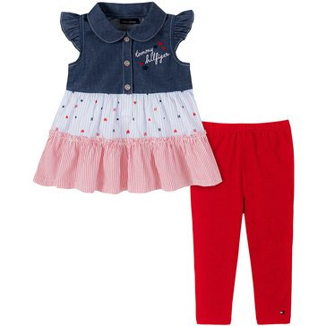 Tommy Hilfiger Baby Girls' Sleeveless Collared Tiered Tunic & Leggings Set