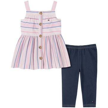Tommy Hilfiger Baby Girls' Sleeveless Striped Woven Tunic & Leggings Set