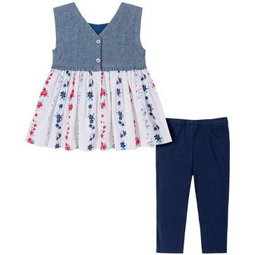 Tommy Hilfiger Baby Girls' Sleeveless Printed Poplin Tunic & Leggings Set