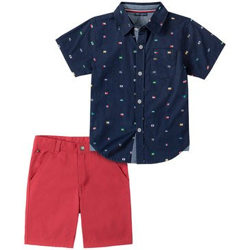 Tommy Hilfiger Baby Boys' Button Up Flag & Shorts Set