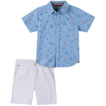 Tommy Hilfiger Baby Boys' Button Up Symbols & Shorts Set