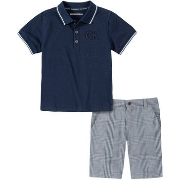 Calvin Klein Baby Boys' Polo & Plaid Shorts Set