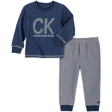 Calvin Klein Baby Boys' Logo Top & Striped Pants Set