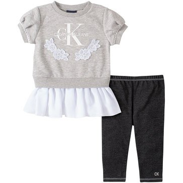 Calvin Klein Baby Girls' French Terry Georgette Top & Denim Pants Set