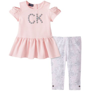 Calvin Klein Baby Girls' Textured Double Knit Top & Print Pants Set