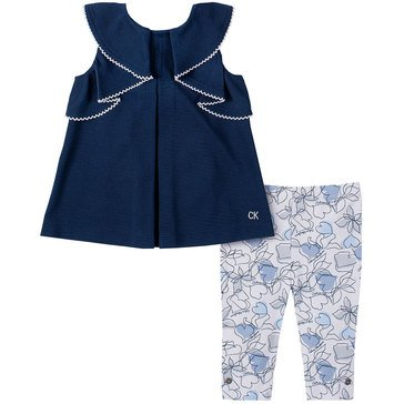 Calvin Klein Baby Girls' Poly Knit Tunic & Print Pants Set
