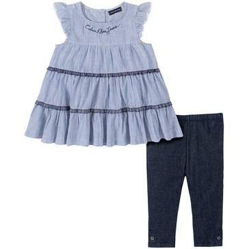 Calvin Klein Baby Girls' Striped Tunic & Faux Denim Pants Set
