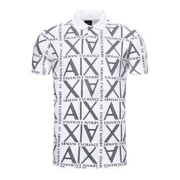 AX Apr Squared Logo Pique Polo Shirt