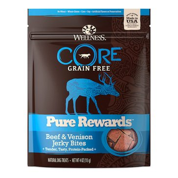 Wellness CORE Pure Rewards Beef and Venison 4 oz.Jerky Dog Treats