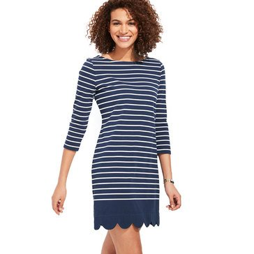 V.Vines Stripe Scallop Hem Knit Dress