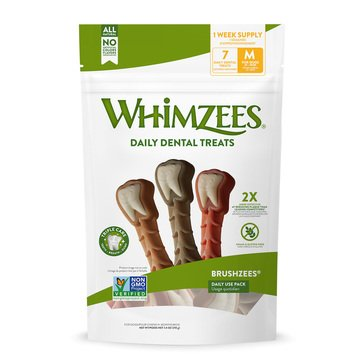 Whimzees Brushzees Daily Use 7-Count Dental Chews