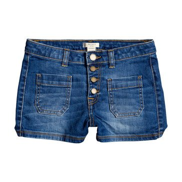 ROXY Big Girls' Once Again Button Up Denim Shorts