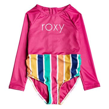 ROXY Little Girls' Maui Shade Long Sleeve Zipped UPF 50 One-Piece Rashguard