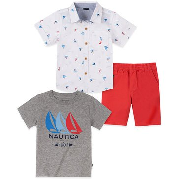 Nautica Baby Boys' 3-Piece Sailboat Woven Shorts Set