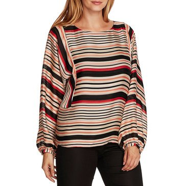 V. Camuto Womens Long Sleeve Stripe Blouse
