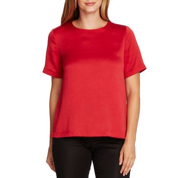 V. Camuto Womens Hammer Satin Rumple Blouse Trapunta Stitching