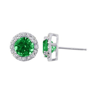 Sterling Silver Created Emerald and White Topaz Earrings