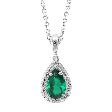Sterling Silver Created Emerald and White Topaz Pendant