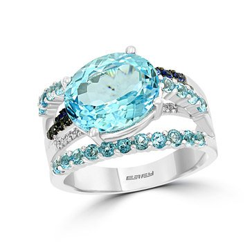 Effy 14K White Gold 7 3/8cttgw Blue Topaz, Sapphire, and Diamond Ring
