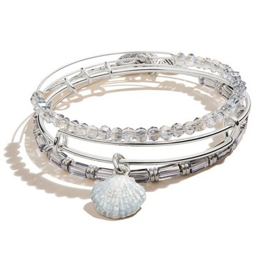 Alex and Ani Color Infusion Scallop Shell Set of Three Bangles