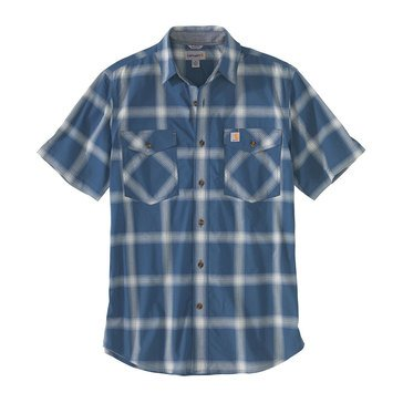 Carhartt Mens Short Sleeve Rugged Flex Fit Light Weight Plaid Woven