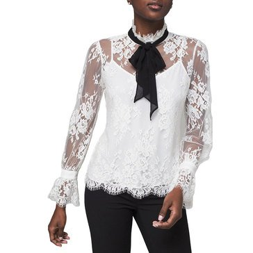 White House Black Market Women's Bow Lace Blouse
