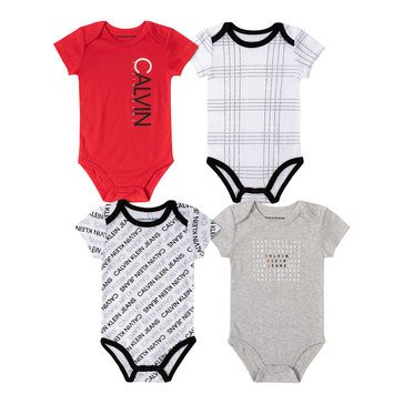 Calvin Klein Baby Boys' 4-Pack Bodysuit Set