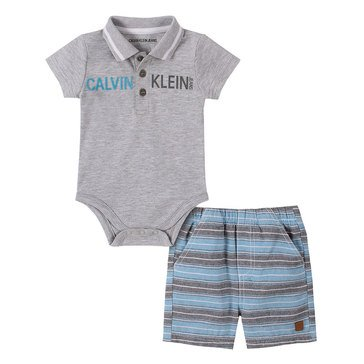 Calvin Klein Baby Boys' Bodysuit & Striped Woven Shorts Set