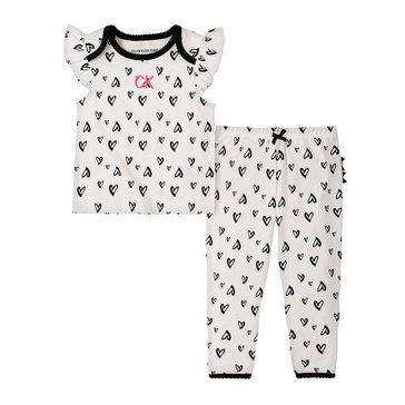 Calvin Klein Baby Girls' Heart Print w/ Lace Ribbon Top