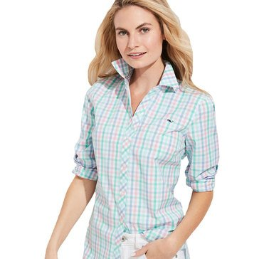 Vineyard Vines Womens Palm Beach Plaid Logo Shirt
