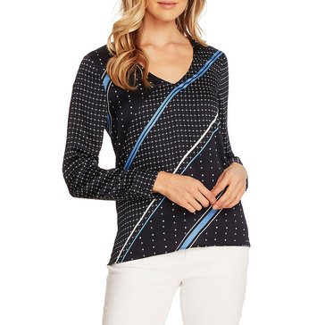 Vince Camuto Womens Mixed Geometric Print V-neck Blouse