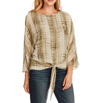 Vince Camuto Womens Linear Shibori Tie Front Blouse