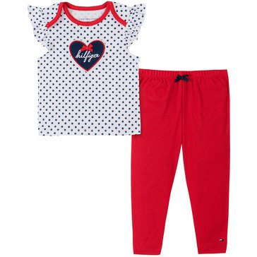 Tommy Hilfiger Baby Girls' Ruffle Cap Sleeve Polka Dot & Pants Set