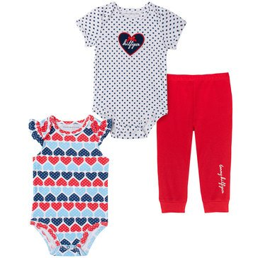 Tommy Hilfiger Baby Girls' Ruffle Cap Sleeve Heart Body Suit & Pants Set