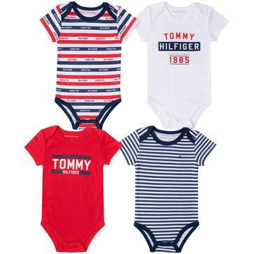 Tommy Hilfiger Baby Boys' Striped 4-Pack Bodysuit Set