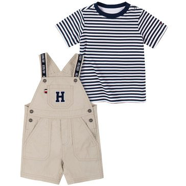 Tommy Hilfiger Baby Boys' Letter Solid Canvas Shortall Set