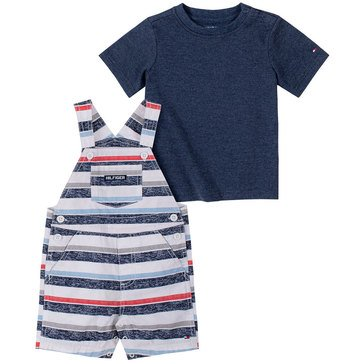Tommy Hilfiger Baby Boys' Striped Canvas Shortall Set