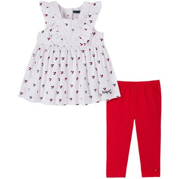 Tommy Hilfiger Baby Girls' Ruffle Cap Sleeve Heart Poplin Tunic & Leggings Set