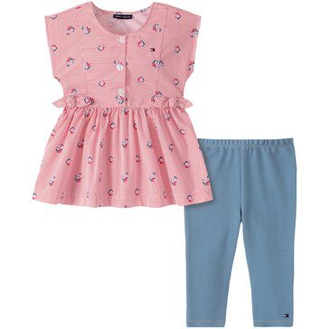 Tommy Hilfiger Baby Girls' Floral Striped Poplin Tunic & Leggings Set