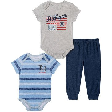 Tommy Hilfiger Baby Boys' Striped 3-Piece Bodysuit Set
