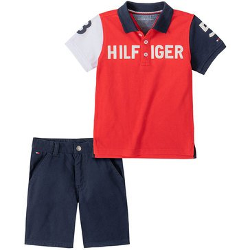 Tommy Hilfiger Baby Boys' Color Block Pique Polo & Twill Shorts Set